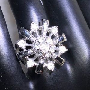 Silver Rhinestone Flower Statement Ring